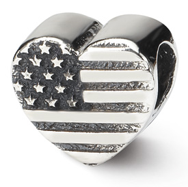 Reflection Beads Sterling Silver Heart Flag Bead