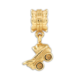 Reflection Beads Sterling Silver and Gold-plated Baby Buggy Dangle Bead