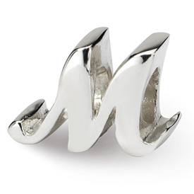 Reflection Beads Sterling Silver Letter M Script Bead