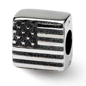 Reflection Beads Sterling Silver  Flag Bead