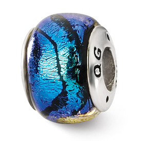 Reflection Beads Sterling Silver Blue Dichroic Glass Bead