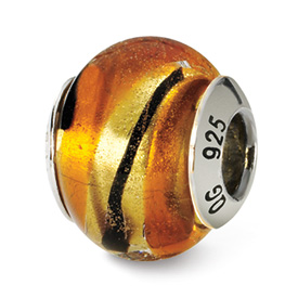 Reflection Beads Sterling Silver Yellow/Gold/Black Italian Murano Bead