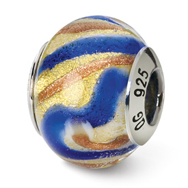Reflection Beads Sterling Silver Yellow/Gold/Blue Italian Murano Bead