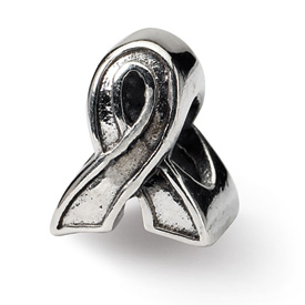 Reflection Beads Sterling Silver Awareness Ribbon Bead