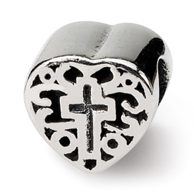 Reflection Beads Sterling Silver Kids Heart w/Cross and Scroll Bead