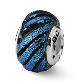 Reflection Beads Sterling Silver Blue Swirl Dichroic Glass Bead