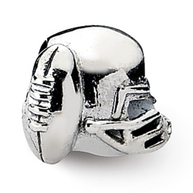 Reflection Beads Sterling Silver Football Helmet Bead