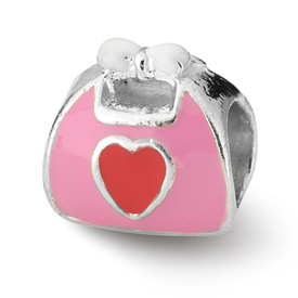 Reflection Beads Sterling Silver Pink/Red Enameled Purse Bead
