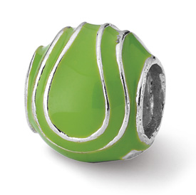 Reflection Beads Sterling Silver Enameled Tennis Ball Bead