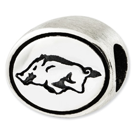 University of Arkansas Sterling Silver Collegiate Bead