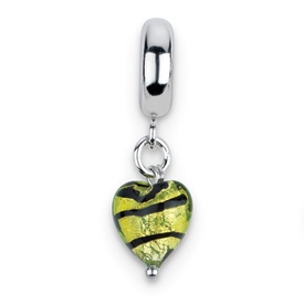 Reflection Beads Sterling Silver Heart Lime Stripe Ital Murano Dangle Bead
