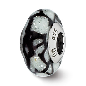 Reflection Beads Sterling Silver White/Black Glitter Italian Murano Glass Bead
