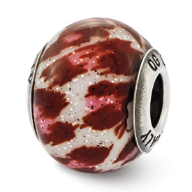 Reflection Beads Sterling Silver Italian Murano Pink & Brown w/Glitter Glass Bead