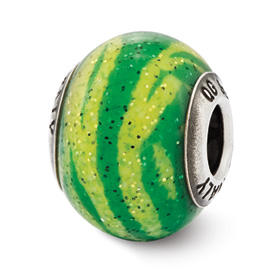 Reflection Beads Sterling Silver Italian Murano Green Stripes Glass Bead