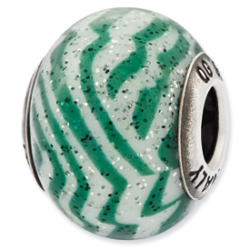 Reflection Beads Sterling Silver Italian Murano Green & White Stripes Glass Bead