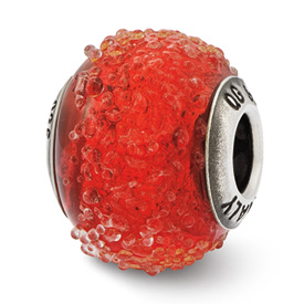 Reflection Beads Sterling Silver Italian Murano Red Textured Glass Bead