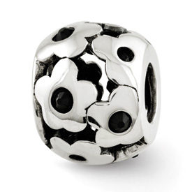 Reflection Beads Sterling Silver Black Swarovski Elements Flowers Bead