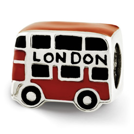 Reflection Beads Sterling Silver Enameled London Double Decker Bus Bead