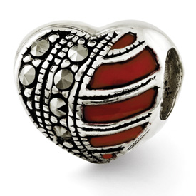 Reflection Beads Sterling Silver Marcasite and Enameled Heart Bead
