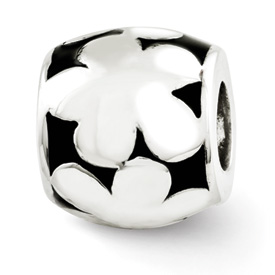 Reflection Beads Sterling Silver Black Enameled Flowers Bead