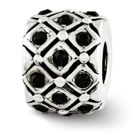 Reflection Beads Sterling Silver Black Swarovski Elements Bead
