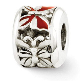 Reflection Beads Sterling Silver Red Enameled Butterfly Bead