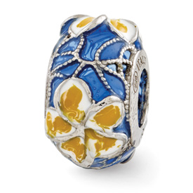 Reflection Beads Sterling Silver Blue Yellow and White Enameled Flowers Bead