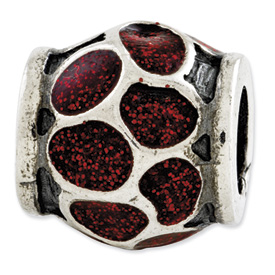 Reflection Beads Sterling Silver Red Enamel with Sparkles Bead
