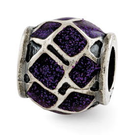 Reflection Beads Sterling Silver Purple Enamel with Sparkles Bead