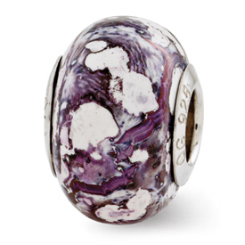 Reflection Beads Sterling Silver Purple, White Ceramic Bead
