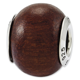 Reflection Beads Sterling Silver Pau Brasil Wood Bead