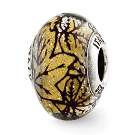 Reflection Beads Sterling Silver Yellow with Black Lines Italian Murano Glass Bead