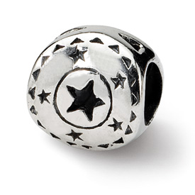 Reflection Beads Sterling Silver Circle w/Stars Bead