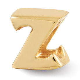 Reflection Beads Sterling Silver and Gold-plated Letter Z Bead