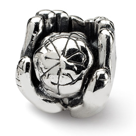 Reflection Beads Sterling Silver World in Hands Bead