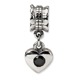 Reflection Beads Sterling Silver Black CZ Heart Dangle Bead