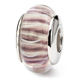 Reflection Beads Sterling Silver Pink Striped Hand-blown Glass Bead