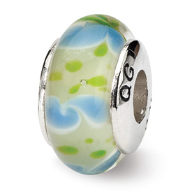 Reflection Beads Sterling Silver Green/Blue Hand-blown Glass Bead