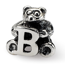 Reflection Beads Sterling Silver Kids Letter B Bead