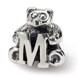 Reflection Beads Sterling Silver Kids Letter M Bead