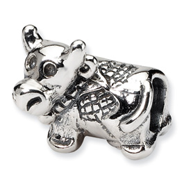 Reflection Beads Sterling Silver Kids Cow Bead