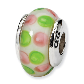 Reflection Beads Sterling Silver Kids Pink Hand-blown Glass Bead