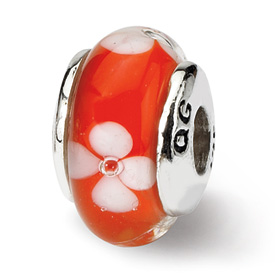 Reflection Beads Sterling Silver Kids Orange Hand-blown Glass Bead