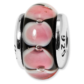 Reflection Beads Sterling Silver Kids Red Hand-blown Glass Bead