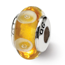 Reflection Beads Sterling Silver Kids Yellow Hand-blown Glass Bead