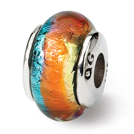 Reflection Beads Sterling Silver Kids Rainbow Hand-blown Glass Bead