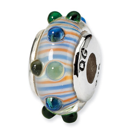 Reflection Beads Sterling Silver Kids Multi Hand-blown Glass Bead