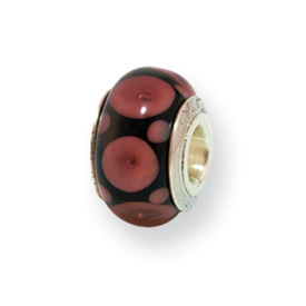 Reflection Beads Sterling Silver Kids Brown Hand-blown Glass Bead