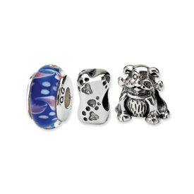 Reflection Beads Sterling Silver Dog Lover Boxed Story Set