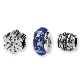 Reflection Beads Sterling Silver Snow Kissed Boxed Bead Set
